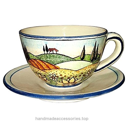 CERAMICHE D'ARTE PARRINI – Italian Ceramic Mug Cup & Saucer Breakfast Milk Sunflower Hand Painted Made in ITALY Tuscan  Check It Out Now     $73.00    Ceramic Cup & Saucer Breakfast Milk . Tuscan landscape with sunflowers in the foreground vineyards, farmhouses and cy ..  http://www.handmadeaccessories.top/2017/03/22/ceramiche-darte-parrini-italian-ceramic-mug-cup-saucer-breakfast-milk-sunflower-hand-painted-made-in-italy-tuscan/