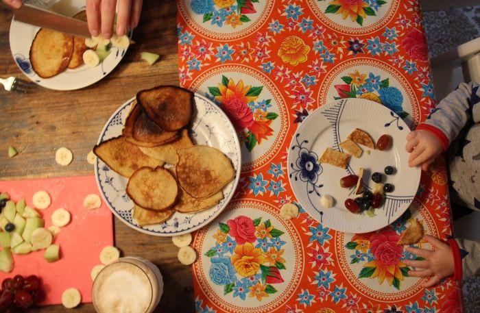 pancakes?  table cloth half way.