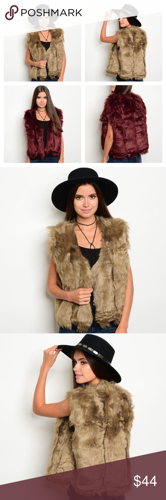 "LUXURIOUS FAUX FUR VEST- BURGUNDY OR CAMEL FABULOUS, LUXURIOUS, THICK AND LUSH FAUX FUR VEST. AVAILABLE IN CAMEL OR TAN OR LIGHT BROWN. ALSO AVAILABLE IN BURGUNDY OR WINE OR MAROON. TWO COLORS AVAILABLE. FULLY LINED TO MATCH THE VEST COLOR WITH TWO HIDDEN HOOK CLOSURES ON THE FRONT.  SLEEVELESS AND ONE SIZE FITS MOST. PERFECT FOR ANY OCCASION. GREAT OVER SWEATERS OR TOPS FROM CASUAL TO FORMAL. LENGTH 22"" AND BUST MEASURED ARMPIT TO ARMPIT IS 21"" ACROSS THE FRONT Boutique Jackets & Coats…"