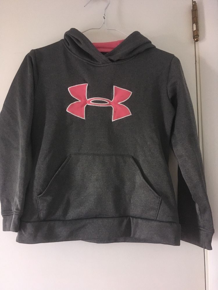 8e44a37b38d5 under armour Hoodie Girls Youth M Gray Pink  fashion  clothing ...