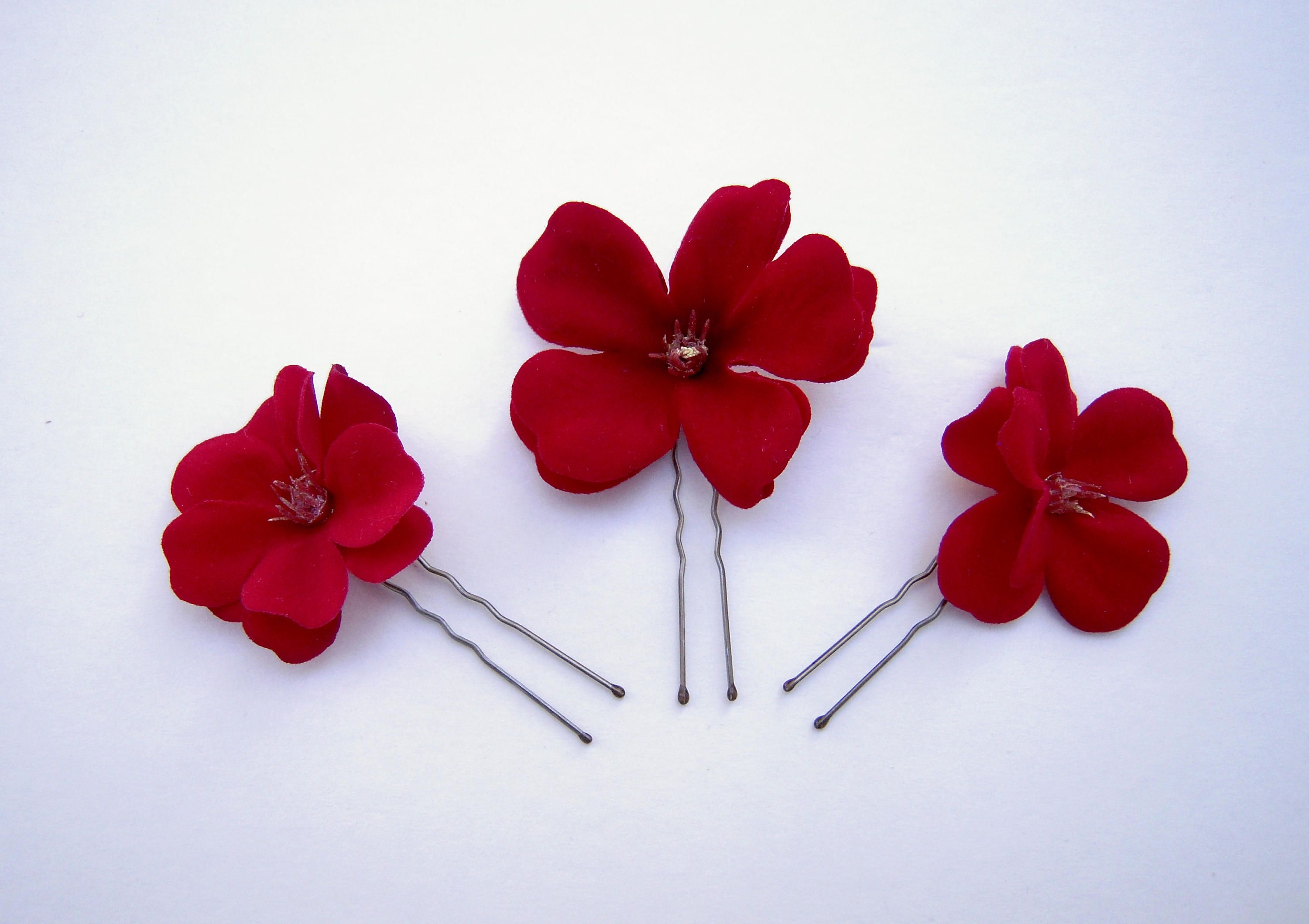 Red Flower Hair Pins Small Red Flower Hair Pins With Gold Colored