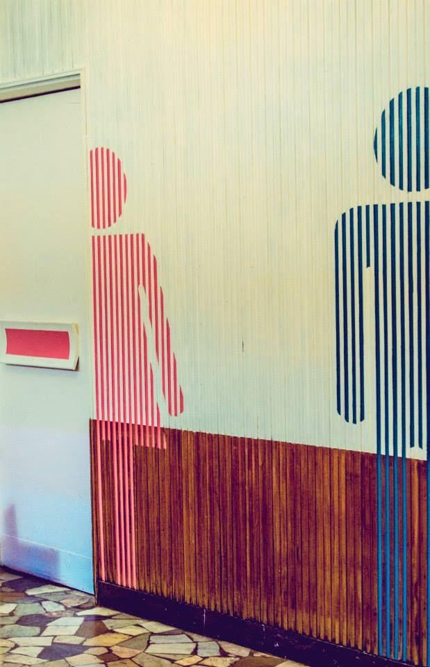 Diseño y ambientación de salón para local de comidas fastgood & deli. Brocoli Pop. Sector baños