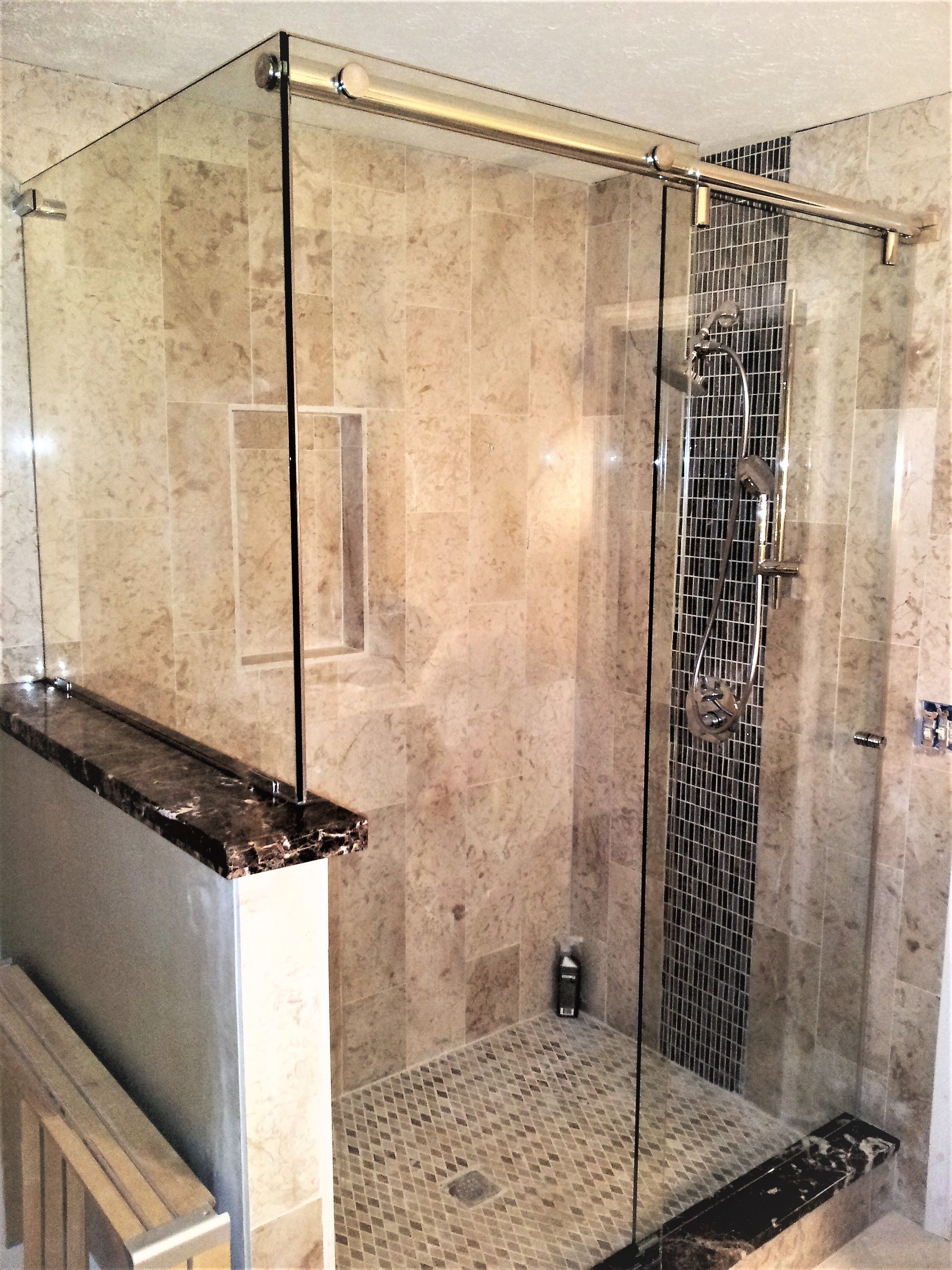 Frameless Barn Shower Door With Hidden Rollers Clear Glass And