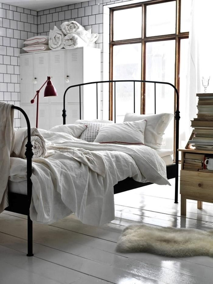 Design Sleuth Modern Iron Beds Industrial bed Natural light and