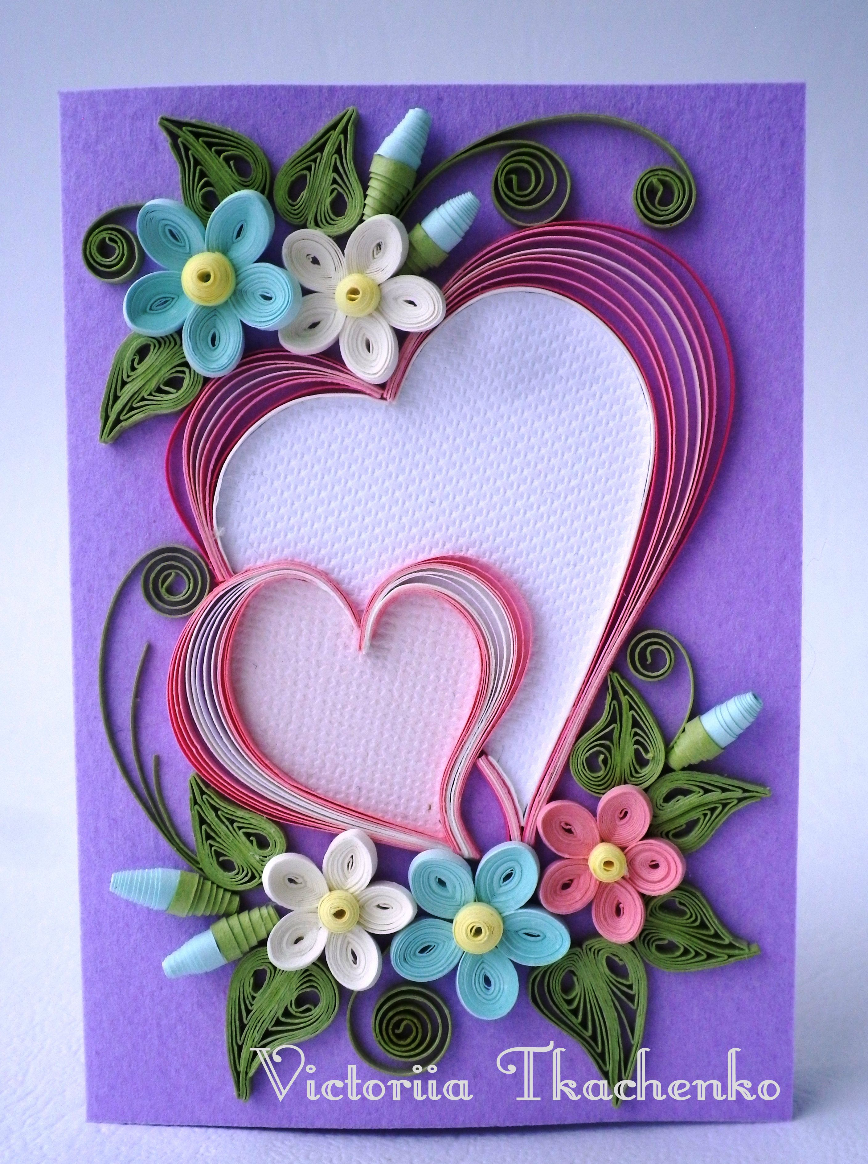 Valentine quilling card valentine 39 s day quilling card for Paper quilling designs
