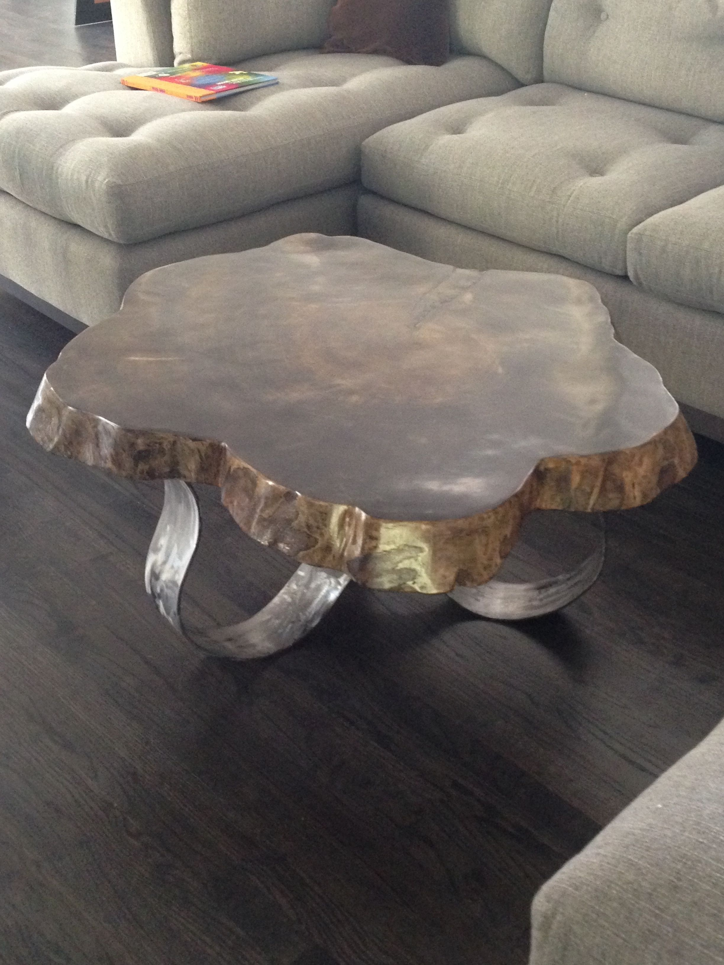 Ebony Stain with raw metal ribbon legs Live Edge Coffee table by
