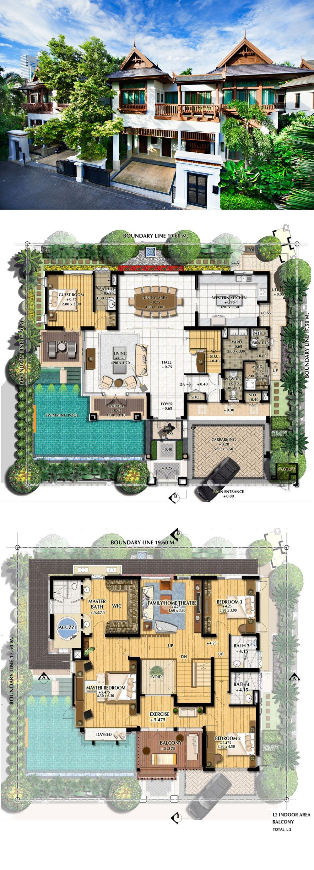 L H Villa House Plans Sims House Design Dream House Plans