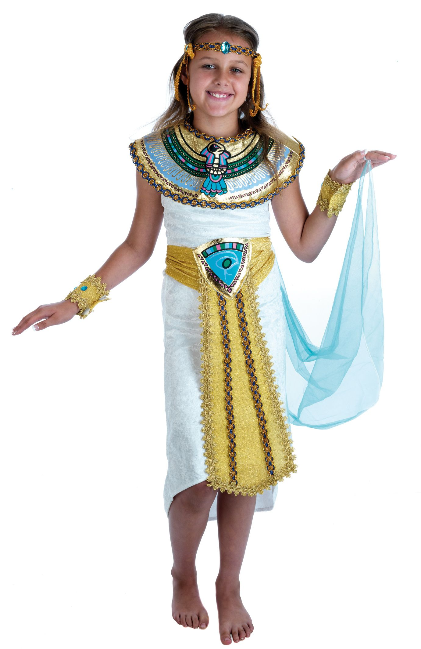 Kids Girls Egyptian Queen Cleopatra Fancy Dress Costume Book Week Outfit New