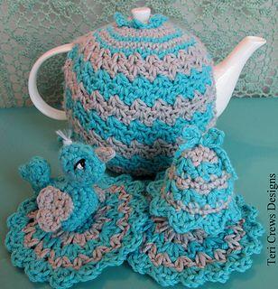 Tea Cosy, Coaster, Egg Cosy Set with Bird - free crochet pattern by Teri Crews.