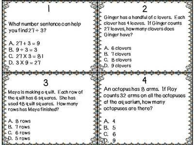 Free Test Maker Printable Multiplication And Division Set Of 12 Task Cards Test Prep Freebie .
