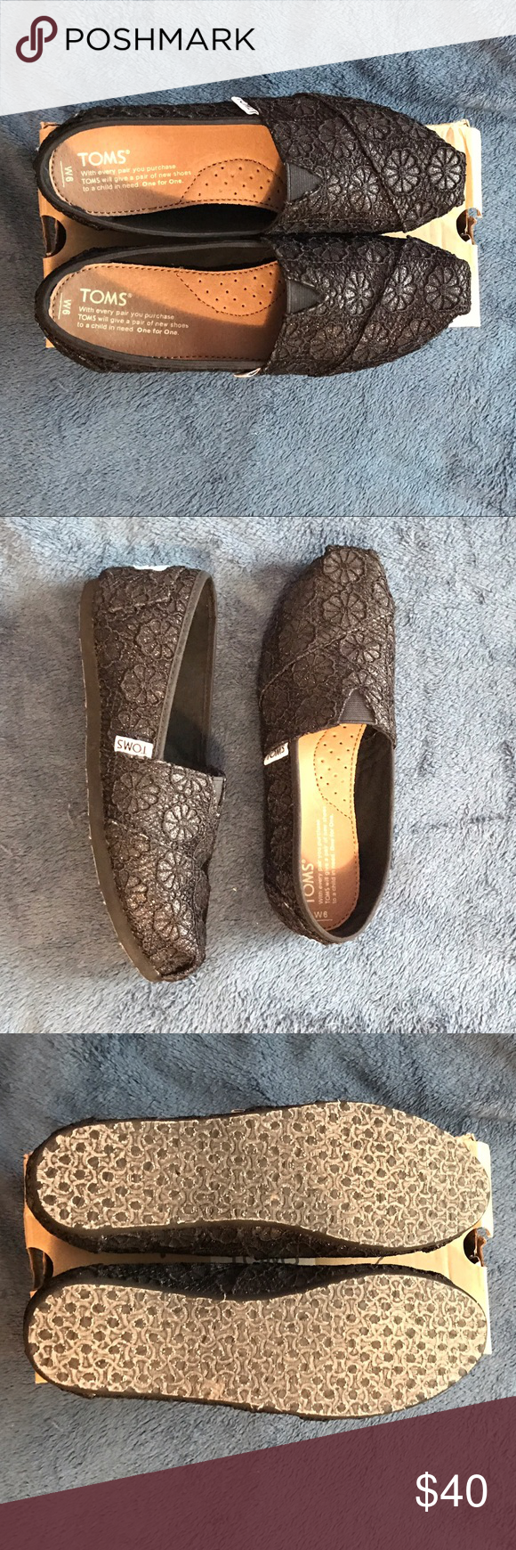 TOMS Brand New without Tags. Super cute TOMS with black lace and slightly sparkly. They go with everything! I'm al and open to reasonable offers! TOMS Shoes Flats & Loafers