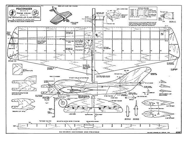 Peacemaker Oz1633 By George Aldrich From Aeromodeller 1958 Plan Thumbnail Model Airplanes Model Aircraft Model Planes