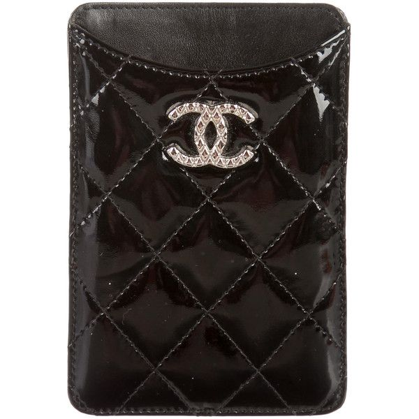 58a9437300ed Pre-owned Chanel Quilted Patent Phone Case ($245) ❤ liked on Polyvore  featuring accessories, tech accessories, black and chanel