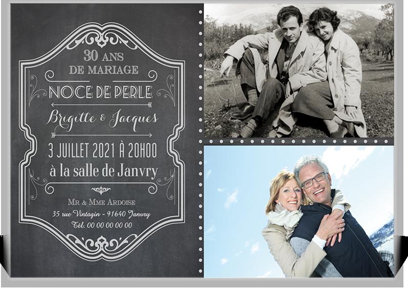 invitation anniversaire de mariage sous forme de ple mle pour vos noces de perles - 30 Ans De Mariage Noce