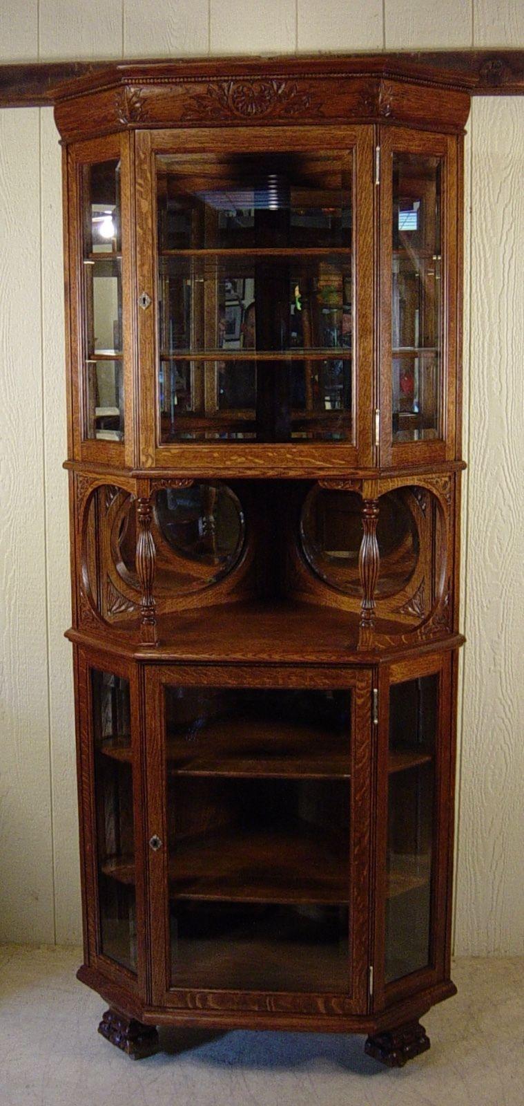 Antique Oak Tall Corner China Cabinet With Beveled Gl Panels