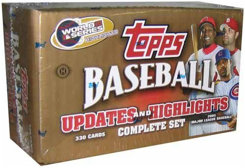 2005 Topps Rookie Updates & Highlights Baseball Set (330 cards) by Topps. $44.99. The '05 Updates & Highlights set consists of 330 cards numbered UH1-UH330. Look for 110 First-Year cards featuring 20 of the top picks from the 2005 Amateur Baseball Draft
