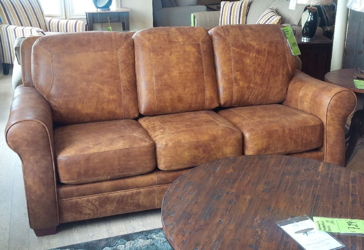Leathercraft Orangeville Sofa In Texas Rawhide All Leather