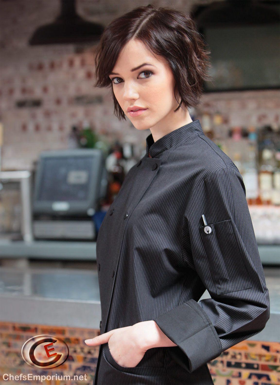 White apron ladies - Ladies Modern Black White Pinstripe Chef Coat Hip Culinary Fashion For The Female