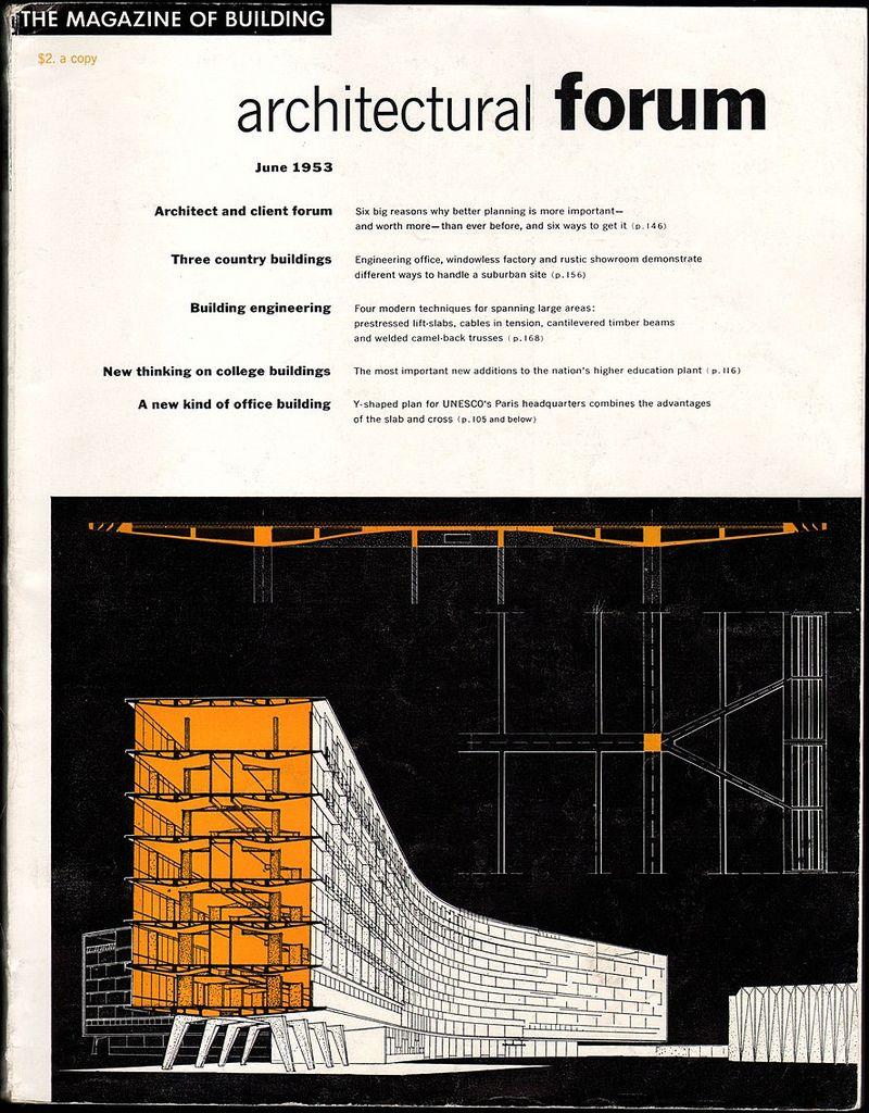 Architectural Forum June 1953: Proposed Unesco HQ, Paris