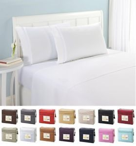 Bed Fitted Sheet Cotton Pillowcase Deep Pocket Solid Color Twin Full Queen King
