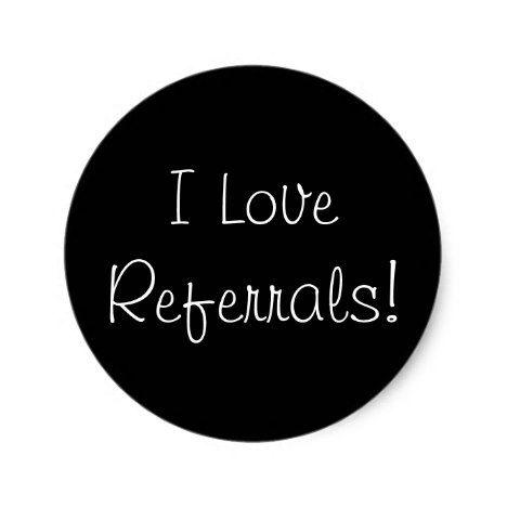 I love referrals classic round sticker round stickers