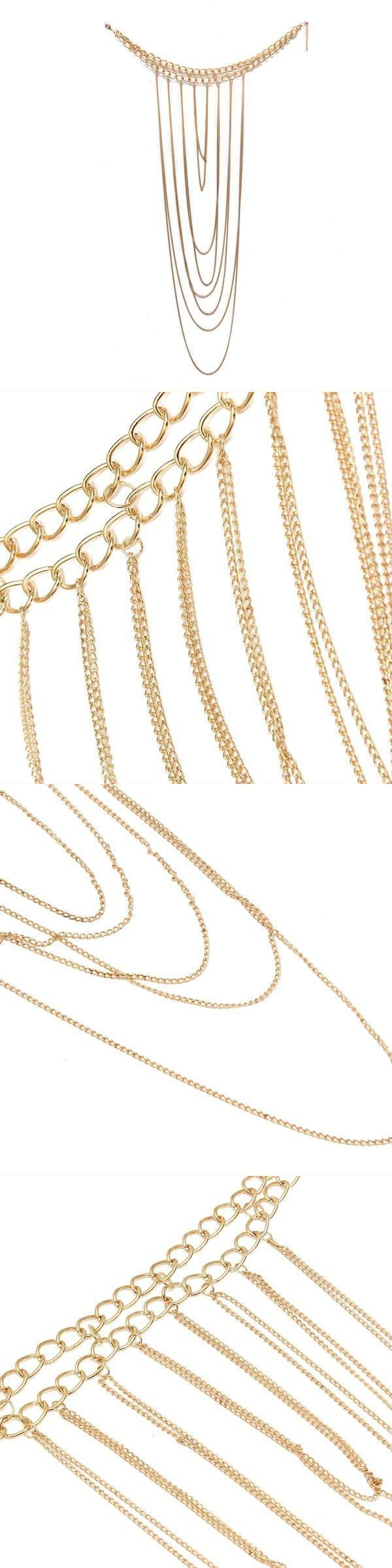Gold plated multilayer tassel statement necklace body chain jewelry gold plated multilayer tassel statement necklace body chain jewelry magnetic necklace pendants interchangeable jewelry aloadofball Image collections