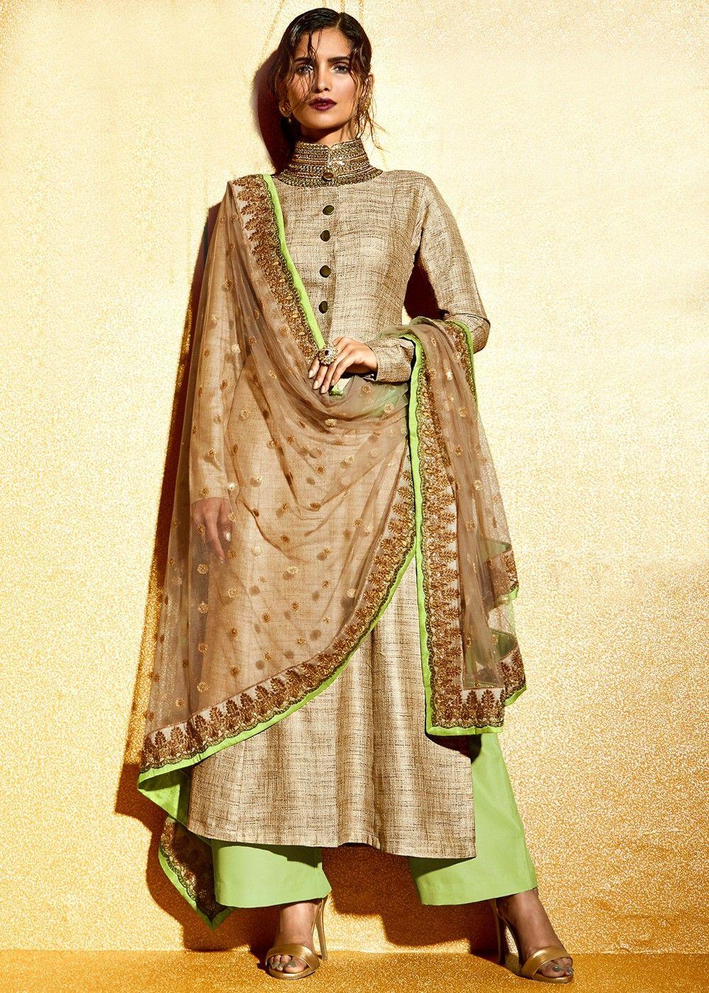 Beige art khadi silk kameez with palazzo in eid dresses