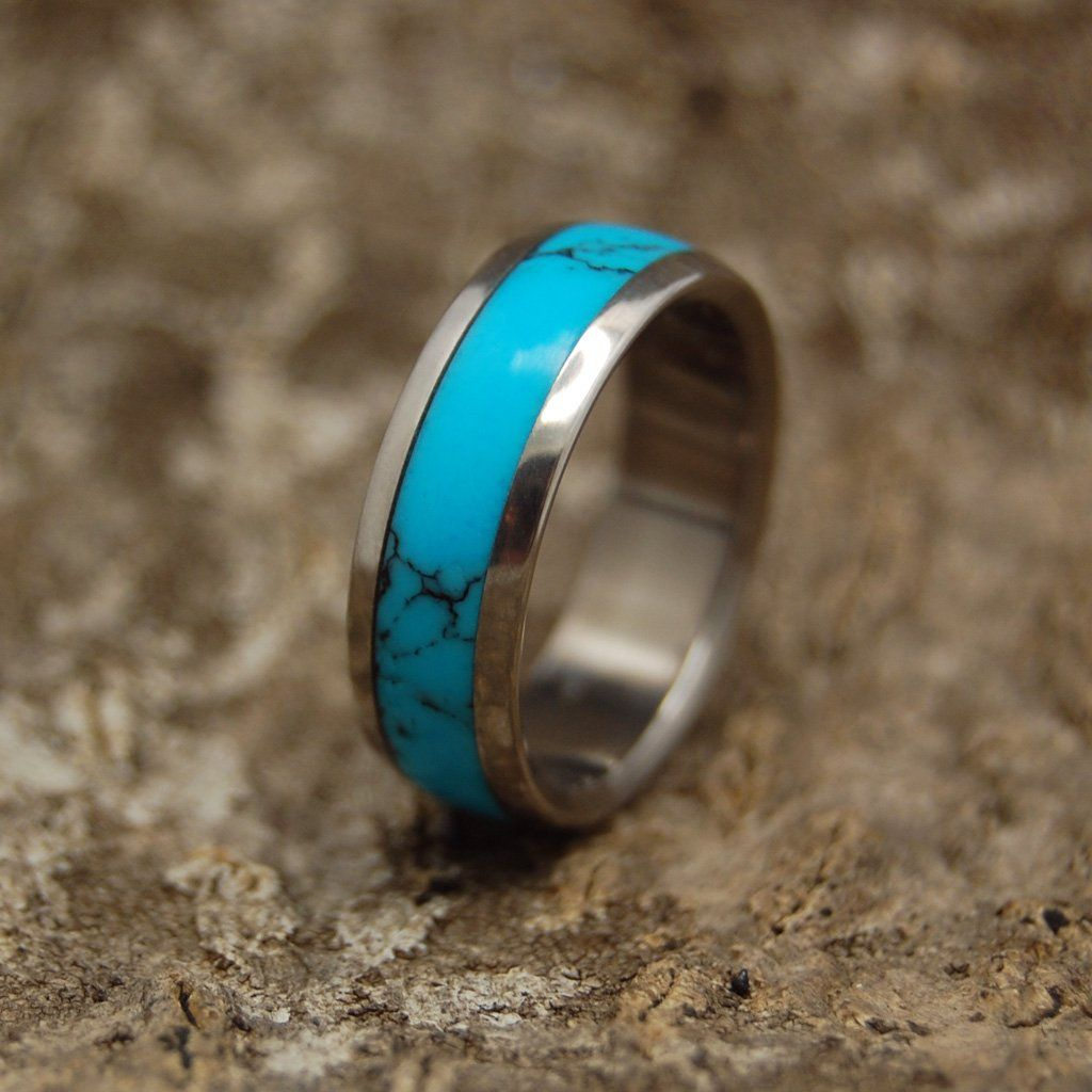 Atlantis Turquoise Stone Titanium Unique Wedding Rings Titanium Wedding Rings Turquoise Wedding Rings Mens Wedding Rings Platinum Wedding Rings