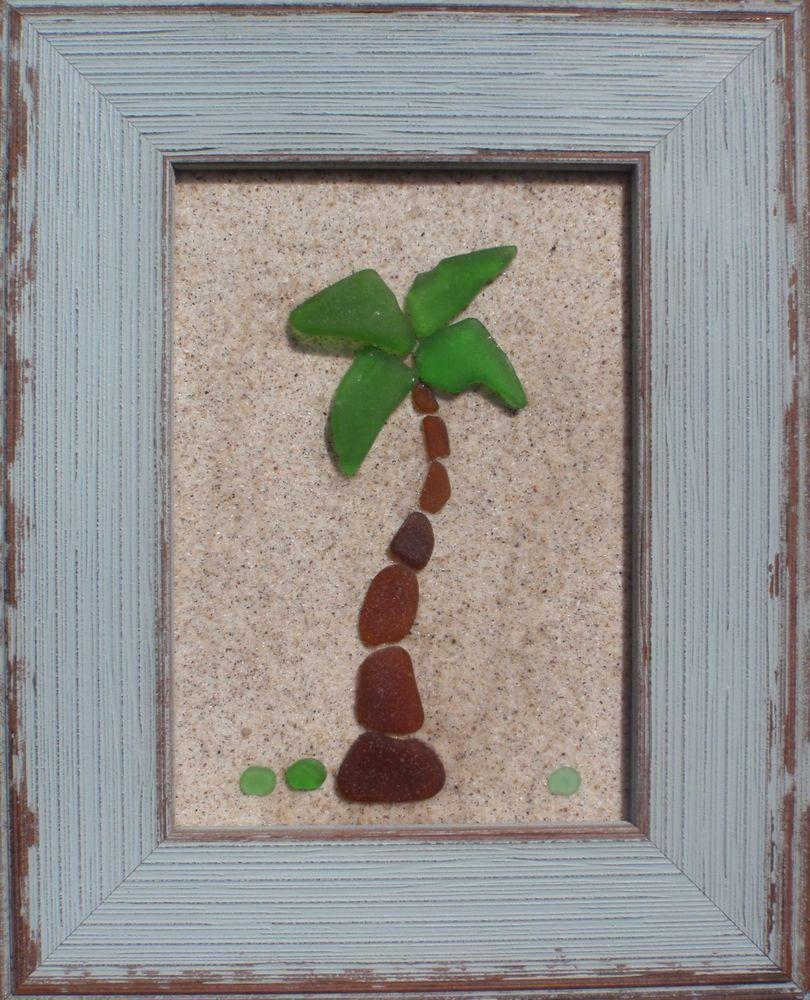 "Real Sea Beach Glass Art – Nautical Decor ""Palm Tree"" #beach_crafts_glass"