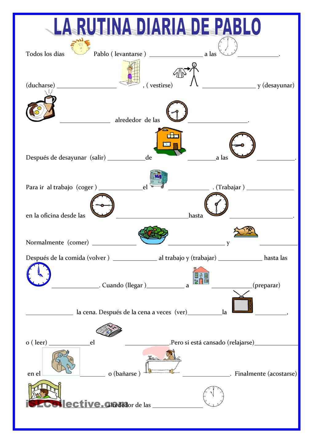 Workbooks weather expressions in spanish worksheets : La rutina de Pablo | Gratuito ELE worksheets | Rutina Diaria ...
