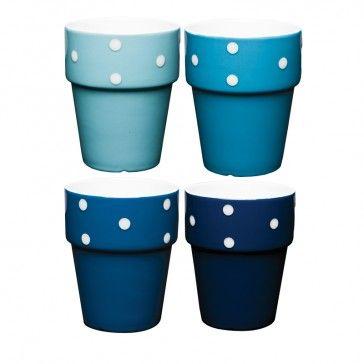 Mini copo 04 pçs p/ café Poás porcelana azul - Mesa - Produtos