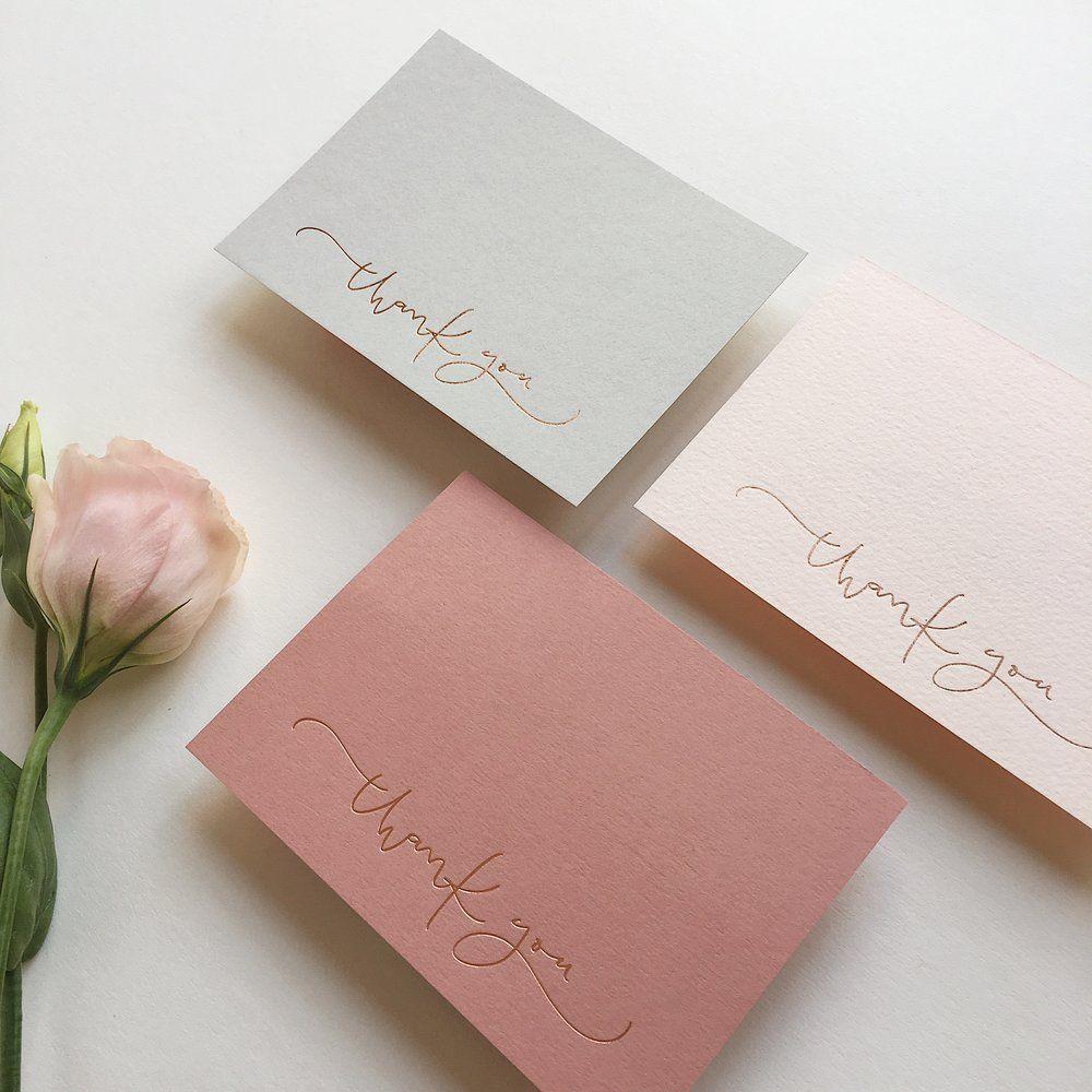 Foil pressed thank you cards & envelopes | Rose gold foil