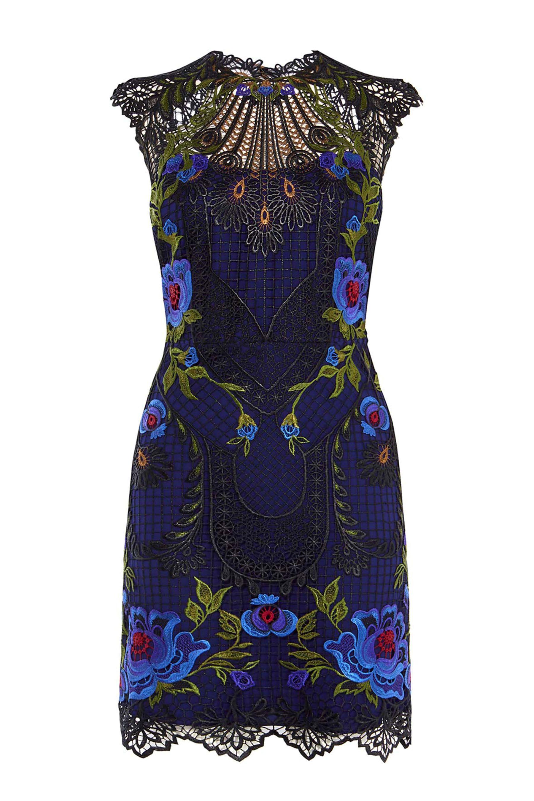 26d6affb6b2 Womens Karen Millen Purple Metallic Coated Floral Embroidery Dress - Purple