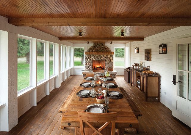 Screened In Porch. Enclosed Porch, Farmhouse Table, Large