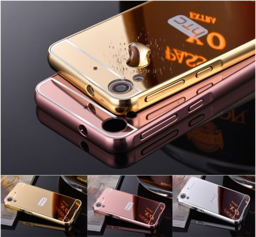 reputable site bf6e9 6f0d5 Luxury Mirror Back Cover + Metal Aluminum Frame Case For HTC Desire ...