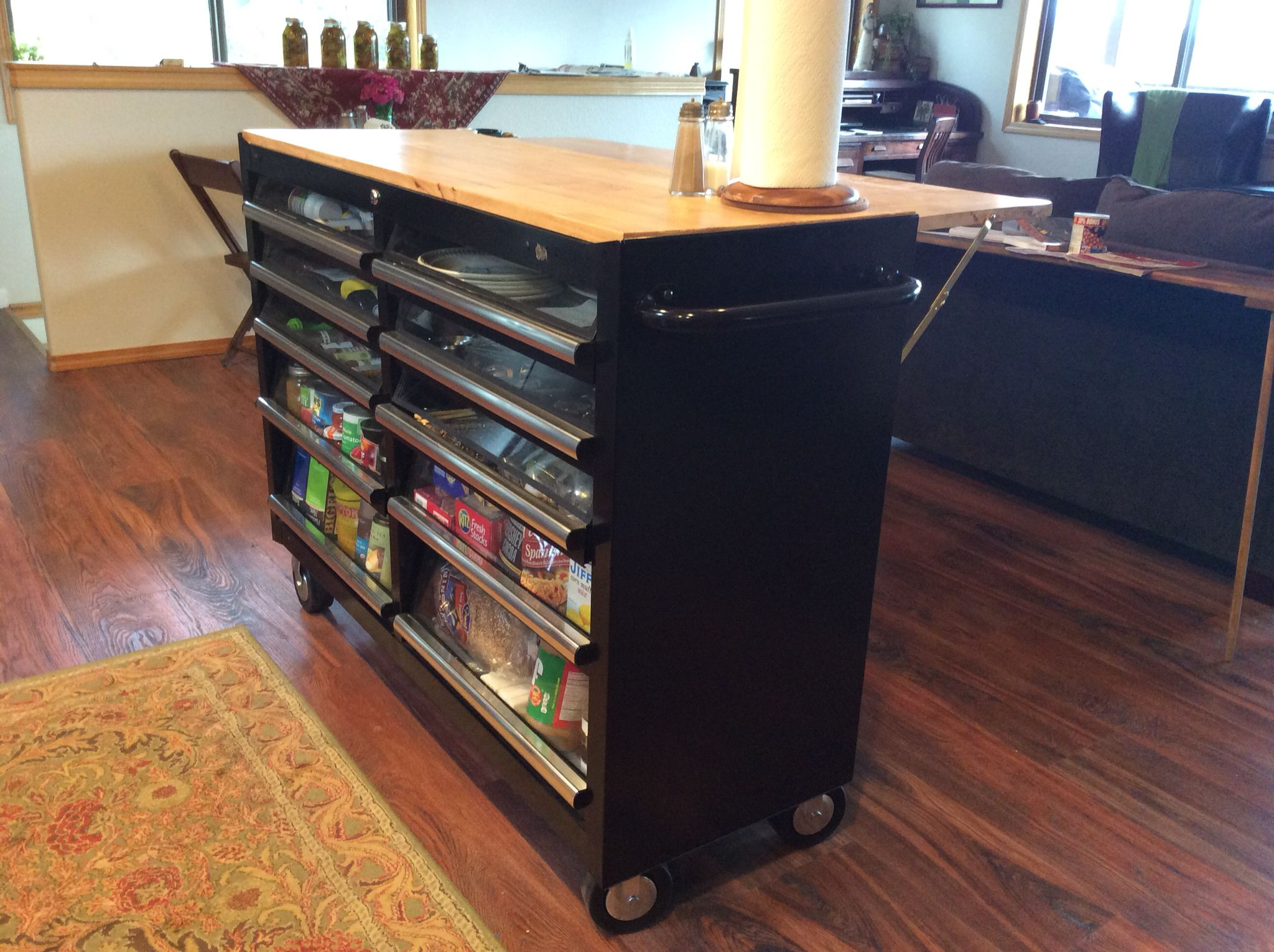we took a tool box and made a kitchen island out of it