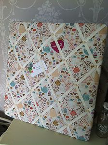 Vintage Style Tea Party Fabric Floral Padded Memo Notice Board By