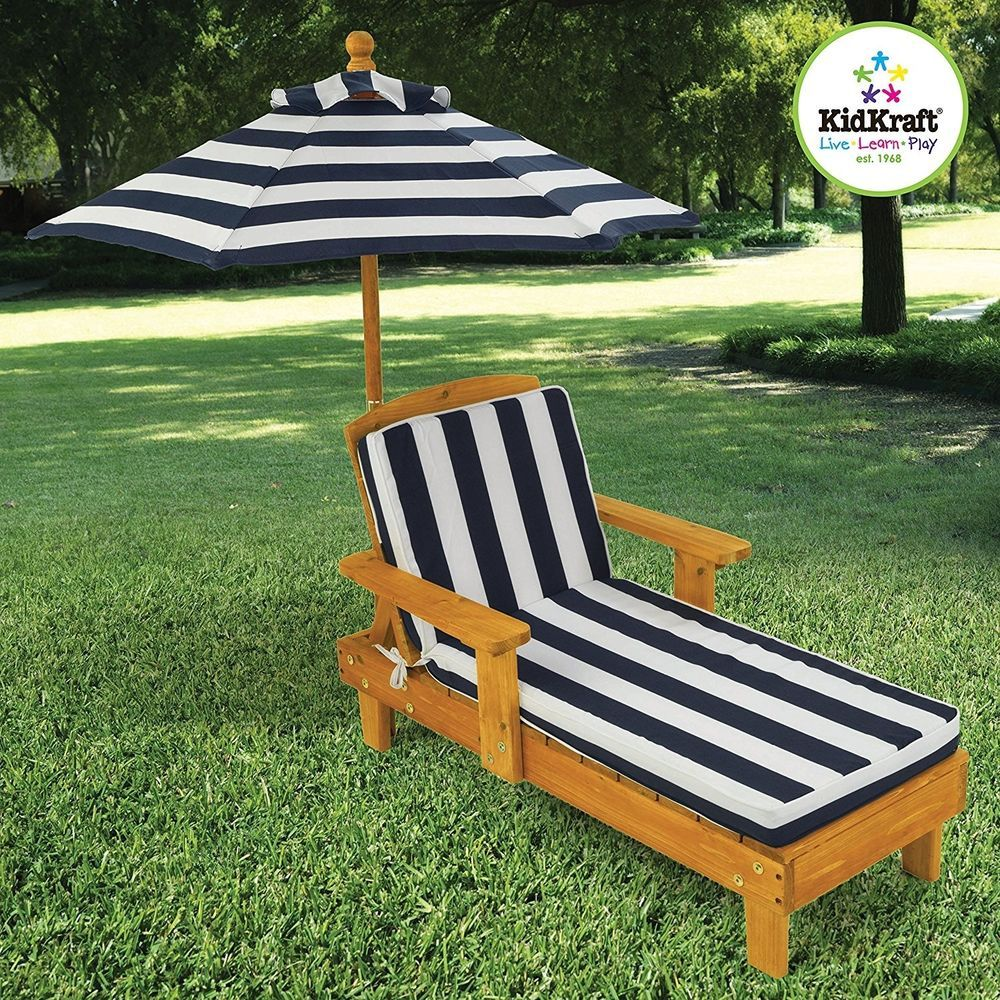 Cushion Outdoor Chaise Wood Patio Furniture Umbrella Lounge Seat Kids Play  New