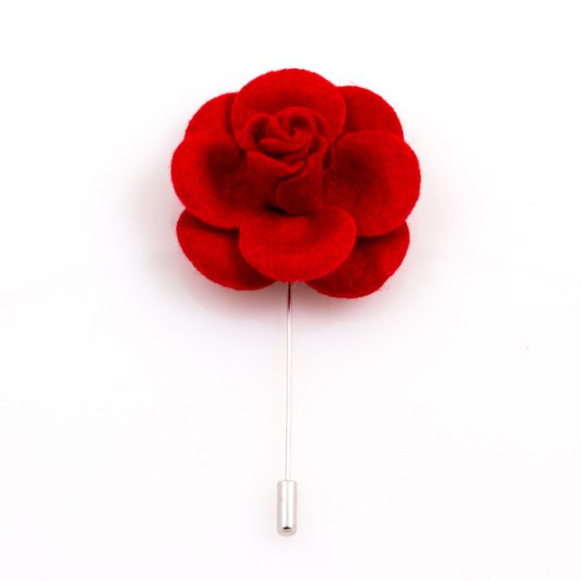$12.99. www.ustylellc.com. Meticulously custom handmade in the USA to the most dapper of specifications. These red felt lapel flowers are a must have accessory. Each flower is handmade in the USA. Dimensions: Approximately 1.7 in diameter.  Stem is silver and measures 2.5 inches or 6.35 cm.  Description & Photo Copyright © 2014 Ubiquitous Style, LLC, www.ustylellc.com