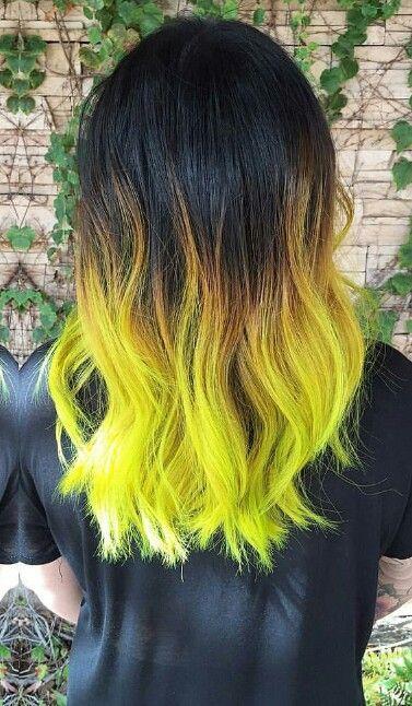 Neon Green Ombre Dyed Hair Color Hairbyalexandrea Hair Dye Tips