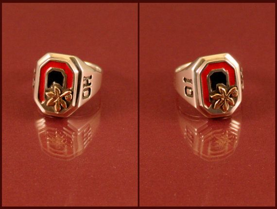 Ohio State Buckeye Block O Ring In Sterling Silver With