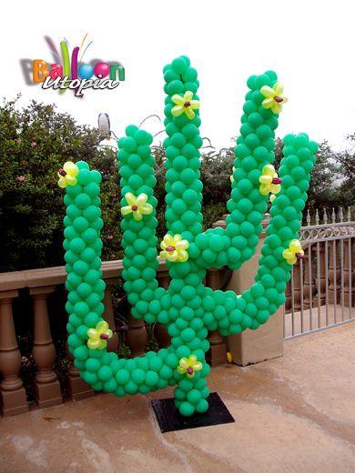 Cactus de globos para una fiesta mexicana decoracion - Globos para fiesta ...