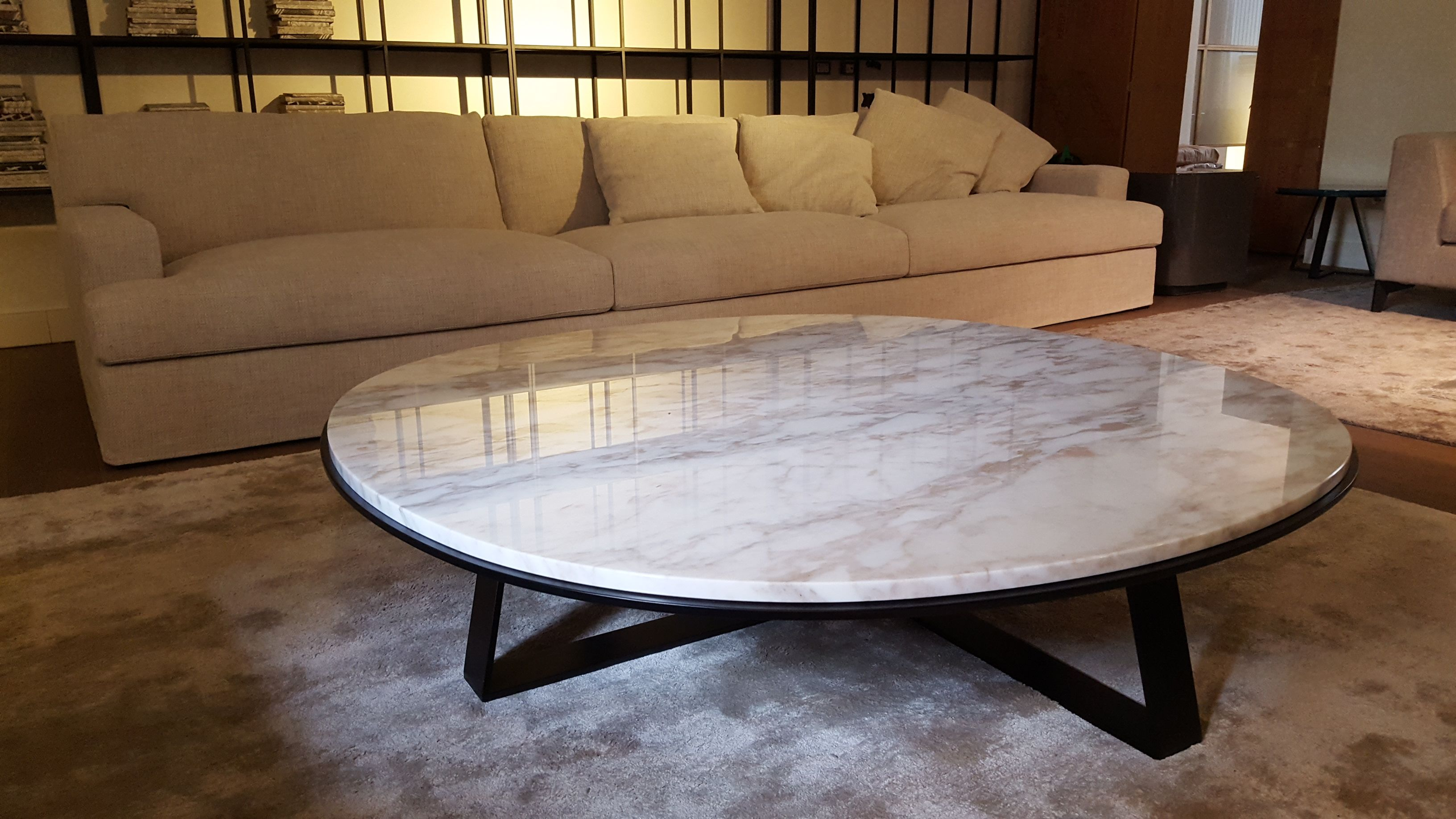 James Large Modular Sofa And Shine Judd Low Table, Calacatta Marble Top.