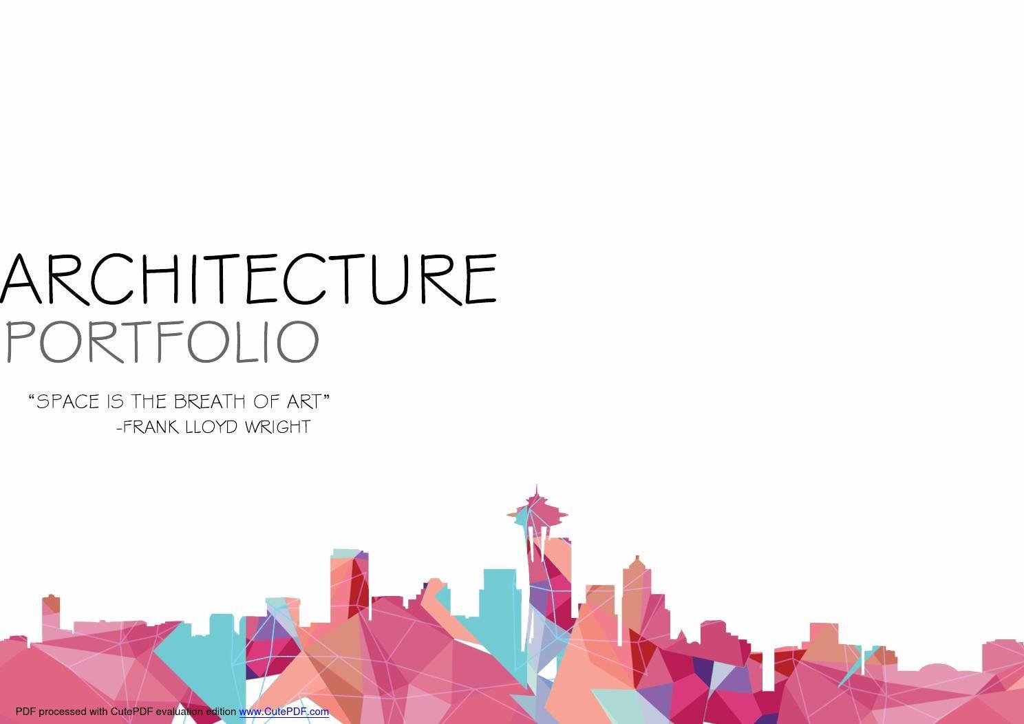 Undergraduate Architecture Portfolio Design Cover Dissertation Example Pdf