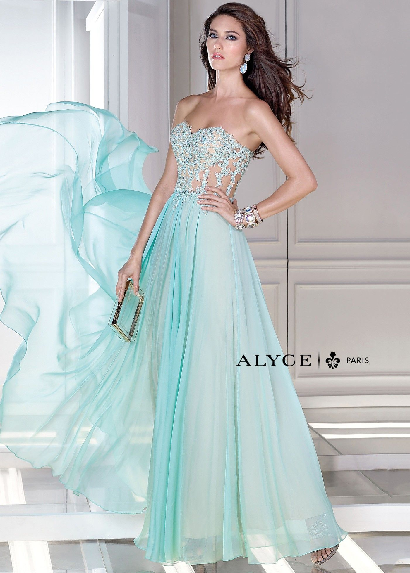 Alyce B\'Dazzle 35677 Floral Illusion Corset Gown | prom dresses ...
