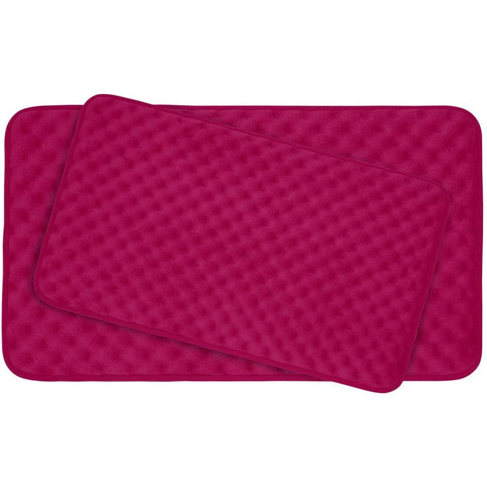 Bouncecomfort Massage Fuchsia Memory Foam 2 Piece Bath Mat Set