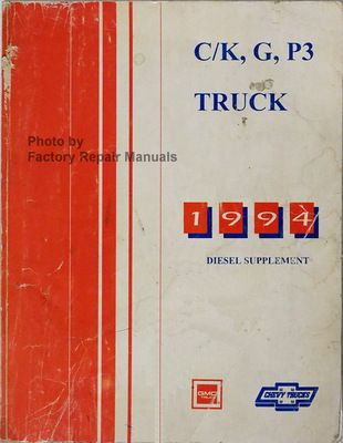 1994 Chevy Gmc C K Truck Suburban G Van P3 Service Shop Manual