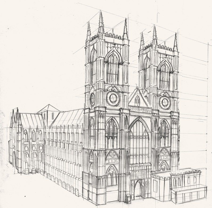 A drawing of westminster abbey lonond part of a mural commission