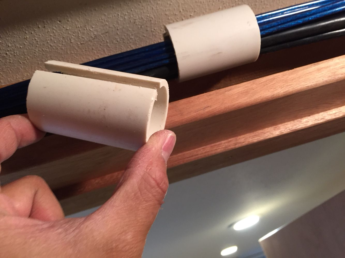 small resolution of diy cable management system using a pvc pipe with a slit in it allowing for easy