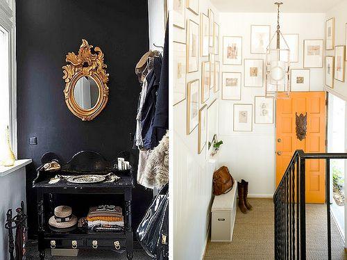 Adore this gallery wall....super chic. entryway orange door black ...